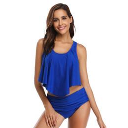 Горячие женщины в бикини пляже онлайн-Купальник 2 шт. Купальники Hot Sexy Bikini Top с завышенной талией 2019 Пляжная одежда Hot Spring Resort Suits