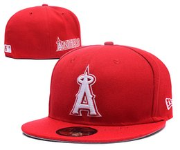 angel hats Coupons - New Angels Full Red Color Baseball Fitted Hats Sport Team Logo Embroidered A Full Closed Caps Out Door Bones with upper case A