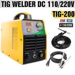 Machine igbt en Ligne-TOSENBA TIG Welder TIG Machine à souder 200Amp à double tension 110 / 220V DC IGBT Inverter Affichage numérique Portable