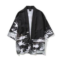 Argentina Moda para hombre Kimono Ropa japonesa Traje casual Chaquetas de verano Kimonos Chaquetas Harajuku Estilo de Japón Estilo Outwear Hombres Drop supplier xl mens kimonos Suministro