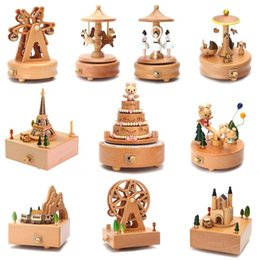 decorazione della scatola del regalo Sconti Ruota panoramica Carousel scatole musicali in legno Music Box di legno Crafts Retro regalo di compleanno Vintage Home Accessori Decoration 30p