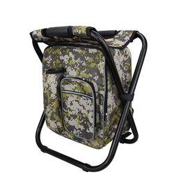 Mochilas plegables online-Aislante de hombro mochila plegable bolsa de hielo silla Oxford paño 600D picnic portátil exterior bolsa de hielo taburete