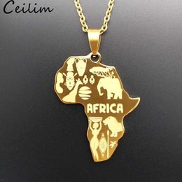 gold dog tags wholesale Promo Codes - Africa Map Pendant Necklace 4 Colorfor Women Men Ethiopian Jewelry Dog Tags Pendants Hip Hop Necklaces for Boy Gifts Jewelry