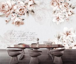 Vintage tapetenabzüge online-Vintage Lily Rose Blume Wallpaper 3D Wandbilder Home Wall Decor Leinwanddruck Kunst Floral Papier Kontakt Papier Benutzerdefiniert