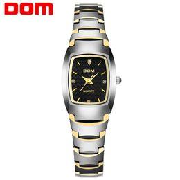8384df030eb Senhoras de luxo relógios de quartzo de aço de tungstênio relógio das  mulheres DOM marca mulher relógios de pulso relógios de diamantes à prova d   água para ...