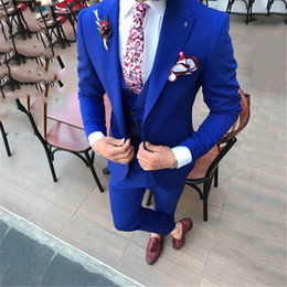 ternos slim fit suit Promo Codes - 2019 Mens Wedding Tuxedos Tailor Made Peaked Lapel Ternos Masculino Slim Fit Mens Blazer Jacket pants vest Male Suit 3 Piece