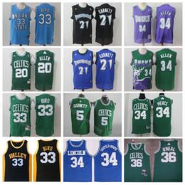 Boston Basketball Kevin 21 Garnett Jersey Ray 20 Allen Larry 33 Bird 34  Jesus Shuttlesworth 34 Paul Pierce 36 O Neal Shaquille 2cf8b6822
