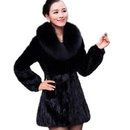 Abrigo de piel sintética de Las Mujeres Negro Gris Furry Chaqueta de Piel de Conejo Abrigos Falsos Largo Outwear Sintético Más Tamaño 5XL 6XL Z168 desde fabricantes