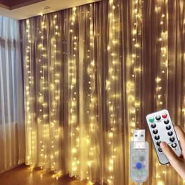 Draht garten feen online-USB Led Vorhang Fairy String Licht-Kupferdraht Fernbedienung 3x3 Mt Led Weihnachtslicht Für Hochzeit Home Garden Party Decor