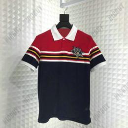 2019 chemises en coton Summer Designer marque Mens Tshirt Luxe Mode Col Rabattu polo broderie trois cochons couleur bande de tissu T Shirt chemises en coton pas cher