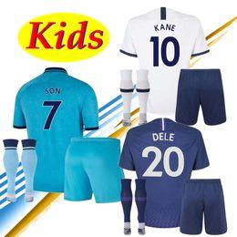 2019 blau 28 fußball trikot New 19 20 Spurs Kinder Kit-weißer Auswärts blauer Fußball Jersey 2019 2020 Tottenhames Kane Son Eriksen Dele Lucas Kind camiseta Fußball-Hemd rabatt blau 28 fußball trikot
