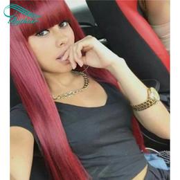perruques de dentelle bang rouge Promotion Vin Rouge 99J Soie Droite Lace Front Perruques de cheveux humains avec Bangs Bourgogne Vierge Brésilienne Full Lace Wigs Bangs Pre Plucked Femmes Noires