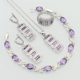 Canada 925 bijoux en argent sterling violet Zircon blanc CZ ensembles de bijoux pour les femmes anniversaire boucles d'oreilles / pendentif / collier / Bracelet / anneau supplier purple zircon ring Offre