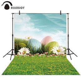 Allenjoy Pascua fotografía de fondo primavera flor huevo cielo hierba verde telón de fondo foto de estudio photophone photocall accesorios de lanzamiento desde fabricantes