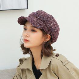 берет хаки Скидка Autumn Winter Beret Hats for Women Octagonal Cap Hats Stylish Artist Painter Newsboy Caps Women WineRed Khaki Painter Caps