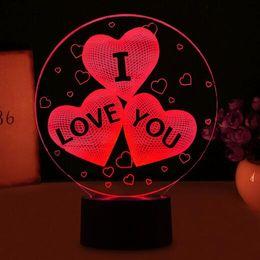 Globos 3d online-Romántico San Valentín Te Amo Globos 3D en forma de corazón Luz de Noche LED Lámpara de estado de ánimo Fiesta de boda Decoración Amantes Pareja Regalos personalizables