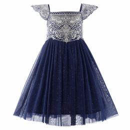 Pettigirl Marineblau Blumenmädchenkleider Brautkleider Für Kinder Goldene Stickerei Mädchen Party Kleider GD50611-3 von Fabrikanten