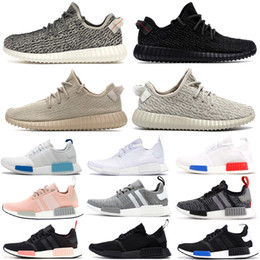 Schwarze und weiße laufschuhe damen online-2020 Frauen der Männer Laufschuhe NMD R1 Primek Oreo Triple Black White Gum Kanye V1 Turteltaube Oxford tan Stylist Turnschuhe 36-46