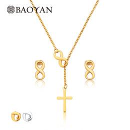 2019 infinity symbol silber halskette 316l Edelstahl-Gold-Silber-Farben-Doppel Infinity Symbol-Zeichen und Kreuz Y-förmige Lariat Halskette Ohrring Schmuck-Sets