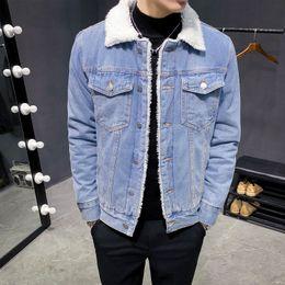 Men Winter Denim Jackets Light Blue Jean Jackets New Male Thick Warm Denim Coats Large Size Wool Liner Black Jean Coats Size 6XL