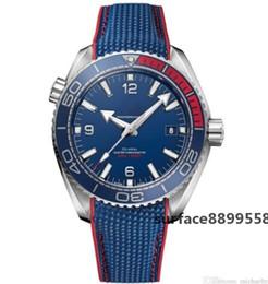 O часы онлайн-OM Ограниченное количество роскошные мужские часы SEA MASTER синее лицо наручные часы Olympic Series 522.32.44.21.03.001 мужские часы бесплатная доставка