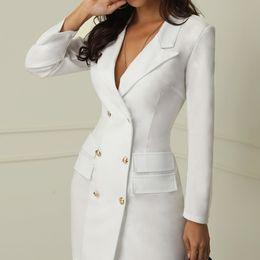 senhoras jaqueta jaqueta Desconto 2019 jaquetão sólida V-neck magro queda revestimento das mulheres longo casaco formal manga longa escritório Vestido senhora suburbano de alta qualidade