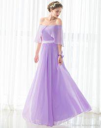 Robes de demoiselle d'honneur élégantes pourpres longues à moins de 50 ans d'épaule drapée en mousseline de soie robe de mariée invité en stock robe de demoiselles d'honneur bon marché ? partir de fabricateur