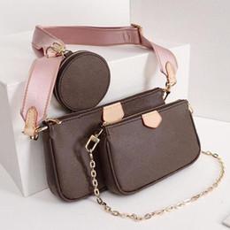Любимый дизайнер нескольких Pochette Роскошные сумки кошелек из натуральной кожи L Цветок Марка плеча Crossbody Сумка женская Кошельки 3 шт мешок вечера от