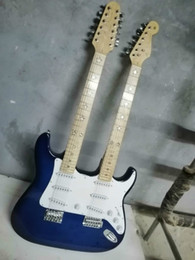 Chitarra elettrica del corpo solido della stringa 12 online-Ordinazione di qualità superiore di colore blu corpo solido in acero tastiera 6/12 corde doppio manico della chitarra elettrica di trasporto
