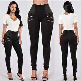 Jeans allungati alla vita online-2017 Women Pencil Stretch Denim Skinny Jeans Pants High Waist Jeans Trousers