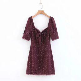 Mini vestido chiffon polka dots on-line-2019 boho elegante ruffles polka dot dress mulheres vestidos de verão coreano backless vestido de festa sexy chiffon mini vestidos
