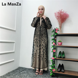 2019 vestes bordadas Kaftan rendas cardigan folha bordada Robe preto Abaya Turquia Dubai Hijab Vestido Muçulmano Ramadan Mulheres Marocain Vestuário Islâmico