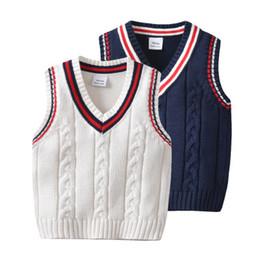Chaleco de punto para niños online-Otoño bebé niño chaleco Cardigan de punto suéter ropa niños suéter niños ropa bebé niño chaleco invierno