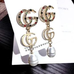 G joyería de plata online-Diseñador de moda de la marca Letras G Pendientes Oro Plateado Ear Studs Double-G Earddrop Para Mujer Joyería de la Fiesta