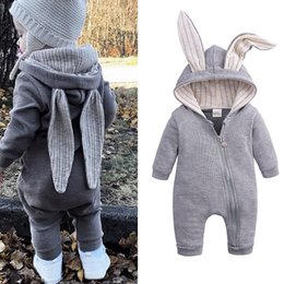 kids boy white clothes Promo Codes - 4 colors Baby Lovely Rabbit Romper Kids Designer Clothes Infant Boys Girls Jumpsuits Rompers Toddler Bodysuit Headband Clothes