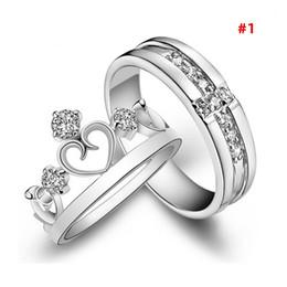 2019 corazones conjuntos de anillos de boda 1 par de amantes de plata del corazón pareja promesa anillos establecidos para hombres / mujeres joyería del anillo de bodas de diamantes de imitación de cristal corazones conjuntos de anillos de boda baratos