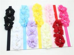 Capelli rosa baby hairbands online-bambini le fasce del bambino rosa fiori di perle accessori per capelli carino Corea bastoni dei capelli copricapo fascia per capelli fotografia hairbands