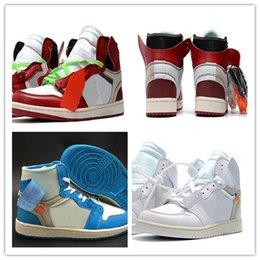 Yüksek Kalite 1 Beyaz Toz Mavi Basketbol Ayakkabı Erkekler Için 10X Chicago Bred 1 s Mens KAPALI Eğitmenler Atletik Spor Sneakers nereden penny hardaway ayakkabıları boyutu 13 tedarikçiler