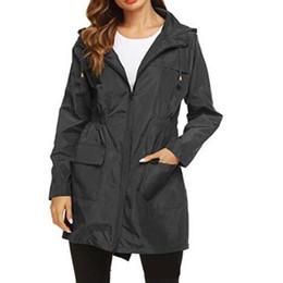 cintura elástica Desconto Cordão com capuz elástico na cintura Trench Coats Moda Sólidos Com zíper e bolso Womens Jacket Designer mulher pano