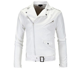 white biker jacket men Promo Codes - male biker motorcycle leather jacket spring coats men faux leather jacket windbreaker windproof waterproof overcoat 2019 new fashion white