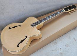 mejor guitarra hueca Rebajas DIY guitarra eléctrica semi-acabado con el cuerpo semi-hueco, palisandro con incrustaciones de oreja de mar, se puede personalizar como petición