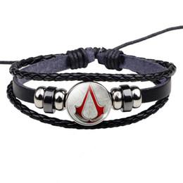 2019 assassins creed geschenk Assassins Creed Armband Hot Game Assassins Creed Logo Design Geek Schmuck Männer Frauen Schwarzes Lederarmband Game Lover Geschenk günstig assassins creed geschenk