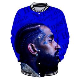Giacche stampate 3d online-Giacca da uomo fashion designer Nipsey Hussle 3D Print Button manica lunga Casual felpa giacche di lusso Hip Hop Harajuku Streetwear coat