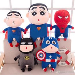 Giocattoli di peluche super eroi online-2019 nuovi stili giocattoli di peluche Avengers cosplay carino bambole di peluche Batman Spiderman Super all'ingrosso bambole eroe bambini regalo di compleanno