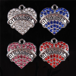 гимнастические брелоки Скидка Lovely GYMNASTICS Sweet Heart Crystal Charms Pendant Fitting DIY Necklace Bracelet Party Fashion Jewelry Accesories Best Gift