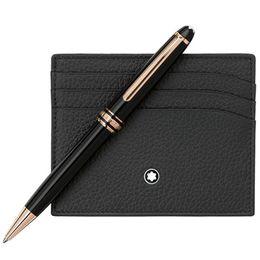 Mb 163 pluma online-Bolígrafo de lujo MB Brand Meisterstcek 163 Bolígrafo de resina negra Rollerball pen Oficina de escritura Útiles escolares con número de serie