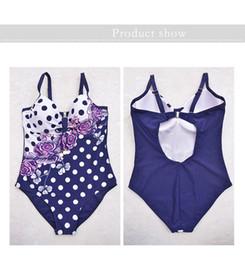 Großhandels-Lose 3 Farben-Punkte mit Blumen 48 ~ 56 plus Größen-Badebekleidungs-Bikini-Frauen-Kleidungs-Sommerkleid-Bodysuit-Badeanzug Maillot De Bain von Fabrikanten
