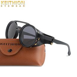 Wickeln sonnenbrille online-KEITHION Klassische Mode-Rundsteampunk-Sonnenbrille-Männer Weinlese-Punkniet-Verpackungs-Sun-Gläser für Männer Retro-Leder-Brillen