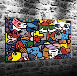 2019 abstrakte gemälde wellen Romero Britto Bunte Kunst Abstrakter Hintergrund, HD Leinwand Druck Neue Dekoration Kunst Malerei / (Ungerahmt / gerahmt)