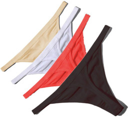 Canada Vente chaude Sexy Femmes Coton G String Strass Taille Basse Sexy Culotte Dames Sous-vêtements Sans Soudure Noir Rouge Peau Blanche Offre